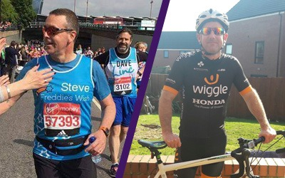 Steve Jolliffe taking part in the London Marathon and Shawn Kearney taking part in Ride the Reservoir